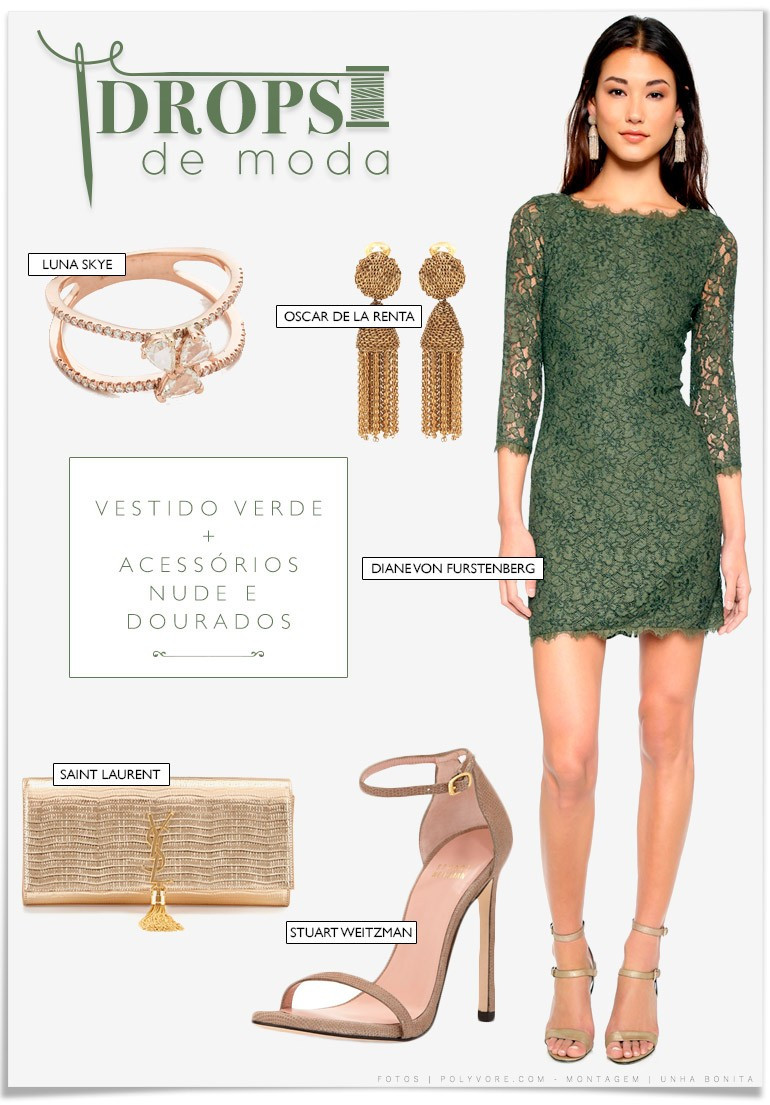 7badd60f7 Drops de Moda | Qual esmalte usar com vestido verde? - Unha Bonita